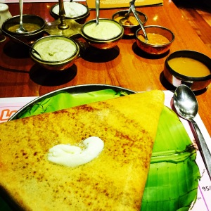 my delicious butter masala dosa at chutneys. hyderabad, india. february 2015.