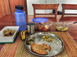 my typical saturday morning breakfast. if i sat at the table long enough, food continued to appear. hyderabad, india. march 2015.