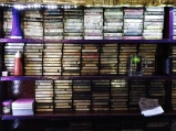 the wall of classic rock cassettes at pecos. bangalore, india. march 2015.