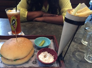 gastro burger at monkey bar. bangalore, india. march 2015.