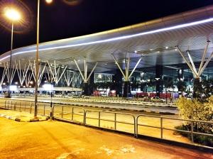 bangalore airport by night. bangalore, india. march 2015.