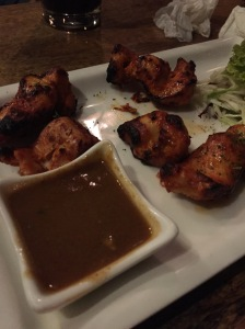 flaming chicken starter at arbor. bangalore, india. march 2015.