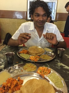 someone was pretty excited about his lunch. bangalore, india. march 2015.