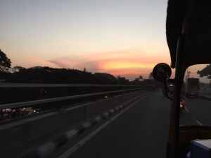 chasing the sunset on a friday evening. bangalore, india. march 2015.