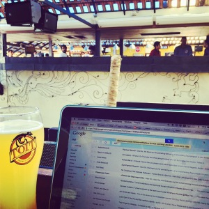just your average tuesday afternoon workspace in a brewpub. bangalore, india. february 2015.