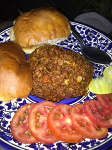 yummy mince pav at the local. bangalore, india. march 2015.