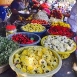 roadside flower stall. bangalore, india. april 2015.