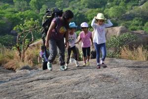 shonali leads her youngest troops. savandurga, india. may 2015.