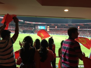 cheering our rcb boys on to victory. bangalore, india. may 2015.