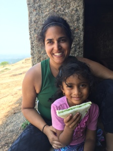 with my peanut at the top of savandurga. savandurga, india. may 2015.