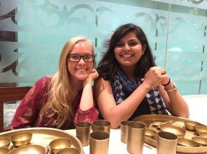 bettina and shambhavi eagerly awaiting their dinner. bombay, india. may 2015.