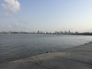 and marine drive by day, to see the shore. bombay, india. may 2015.