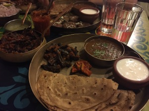 only a small portion of our lunch spread at papa pancho. bombay, india. may 2015.