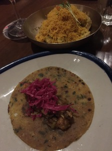 tacos in the foreground, aloo brava in the back. bombay, india. may 2015.