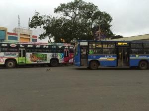 early mornings at banashankari bus stand. bangalore, india. april 2015.