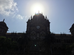 the grand clock at cst. bombay, india. may 2015.