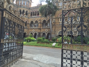one the many entrances into cst. bombay, india. may 2015.