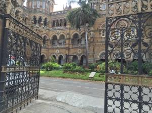 one the many entrances into cst. bombay, india. may 2015.