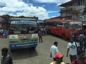 the gonikoppal bus stand. coorg, india. june 2015.