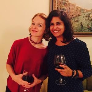 with maeve at amai's birthday party. bangalore, india. june 2015.