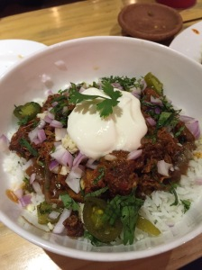 that yummy braised pork burrito bowl. bangalore, india. july 2015.