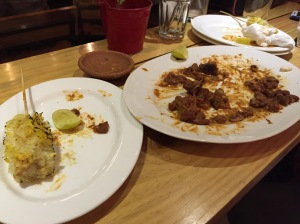 empty plates because we stuffed ourselves silly. bangalore, india. july 2015.