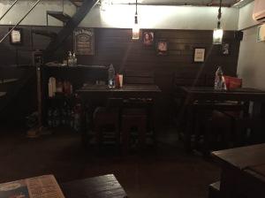 inside smally's resto cafe. sorry it's so dark. bangalore, india. july 2015.