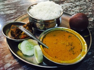 delicious ragi mudde lunch. bangalore, india. august 2015.