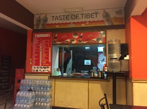 the counter where all the yummy food comes out. bangalore, india. august 2015.