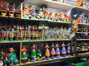 souvenir shops, india-style. maddur, india. august 2015.