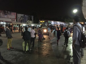 evening commuters. bangalore, india. august 2015.
