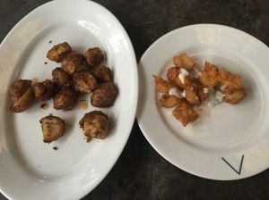 even more appetizers: potatoes and fried prawns. bangalore, india. september 2015.