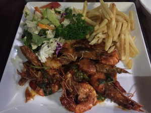 tiger prawns at pedlar's inn cafe. galle, sri lanka. september 2015.