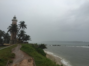 a rainy view of the light house. galle, sri lanka. september 2015.