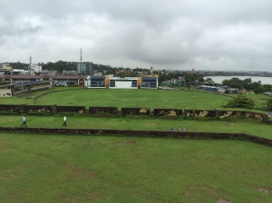 looking down on the galle cricket ground from the fort wall. galle, sri lanka. september 2015.
