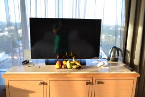 entertainment center, mini bar, and complimentary fruits. bangalore, india. october 2015.