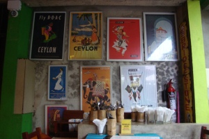 posters inside barefoot. colombo, sri lanka. september 2015.