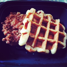 chicken and waffles from chick-fil-a, the real breakfast of champions. memphis, tennessee. september 2014.