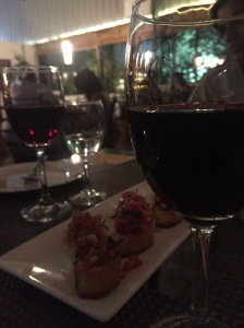 wine and bruschetta at cafe max. bangalore, india. october 2015.