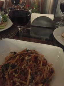 spaghetti with wine. bangalore, india. october 2015.