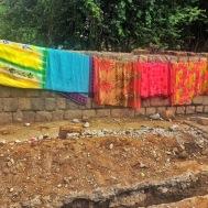 sarees hanging out to dry. bangalore, india. november 2015.
