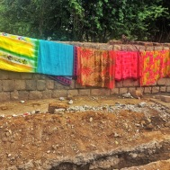 sarees hanging out to dry. bangalore, india. november 2015.