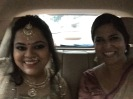 on the way to the wedding with the bride.