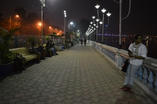 lovely footpath along the river. calcutta, india. december 2015.