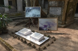 students' interpretation of the cemetery. calcutta, india. december 2015.
