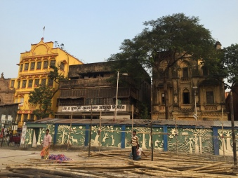beautiful buildings next to college square. calcutta, india. december 2015.