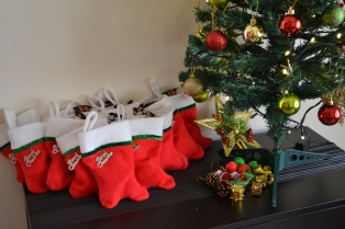 stockings and ornaments ready to be given away. bangalore, india. december 2015.