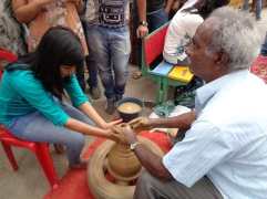 live pottery lessons as well. bangalore, india. january 2016.