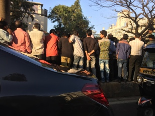waiting for an amitabh sighting. bombay, india. february 2016.