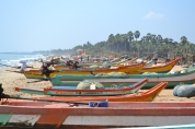 colourful fishing boats ready to head out to sea. pondicherry, india. march 2016.